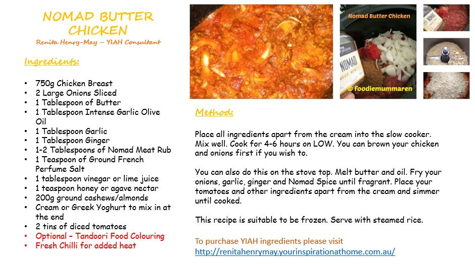 BUTTER CHICKEN RECIPE CARD